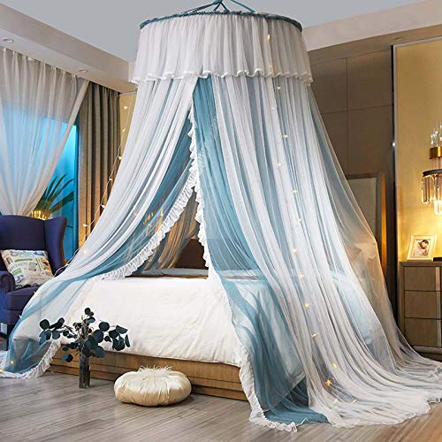 Gorgeous Lace Bed Curtains Mosquito Net for Kids Girls Adults Double Layer Polyester Sheer Mesh Princess Dome Bed Canopy for Single, Double, Queen Size Bed,Blue