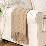 BATTILO HOME Knit Throw Blanket Soft Lightweight Textured Decorative Blanket with Tassel for Bed, Couch (Tan, 50'x60')