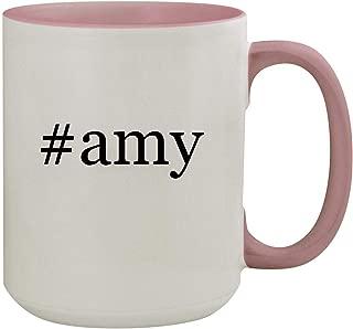#amy - 15oz Hashtag Colored Inner & Handle Ceramic Coffee Mug, Pink