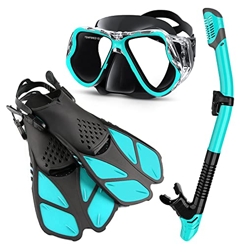Zenoplige Mask Fins Snorkel Set Adults Men Women, Swim Goggles 180 Panoramic View Anti-Fog Anti-Leak Dry Top Snorkel and Dive Flippers Kit with Gear Bag for Snorkeling Swimming Scuba Diving Training