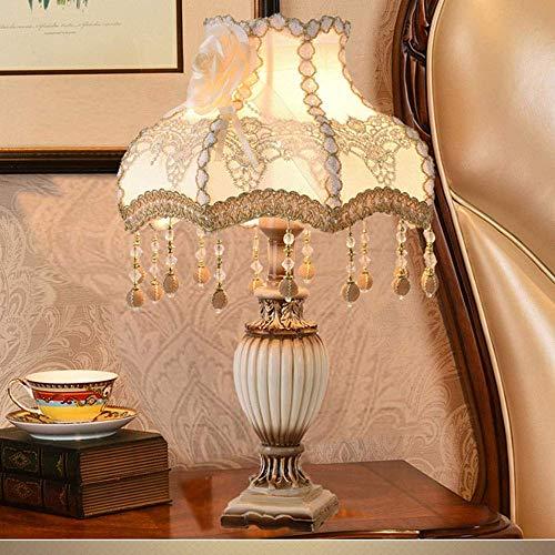 Lámpara de mesa Lámpara de mesa Vino europeo color de la flor blanca tela de encaje blanco duolei si borla lámpara colgante lámpara de mesa sombra lámpara de noche de resina verde lámpara de cuerpo lá
