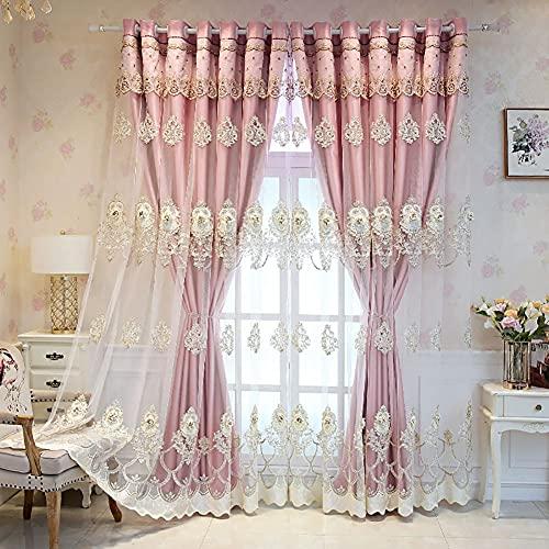 Rideaux de Broderie en Relief occultants à 2 Panneaux pour Chambre à Coucher, Rideaux de Rideau en Fil de Tissu à Isolation Thermique, Dessus à œillets(Color:Pink,Size:1.6 * 2.7M)