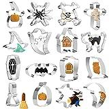 FORMIZON Moldes Galletas Halloween, 16 Piezas Cortador Galletas de Acero Inoxidable, Diseño de Calabaza, Fantasma, Molde Galletas para Pastel, Cumpleaños Fiesta, Halloween Decoración