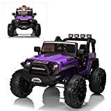 Ride On Car with Remote Control for Kids, 24V Electric Off-Road Truck Ride On Toys, 200W Ultra Powerful Motors, Bluetooth, Musics, Working Lights, 4 Wheels Suspension, Purple