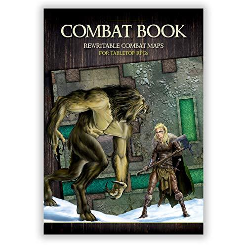 Libro de combate: mapas A3 regrabables para juegos de rol (mapas tácticos de cuadrícula de juegos de rol y mazmorras)