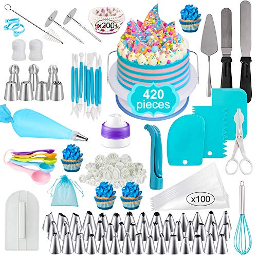 Cake Decorating Supplies Kit,Set of 420,Baking Pastry Tools for Beginners,Cake Rotating Turntable,Cake Decorating Kits, Muffin Cup Mold, Cake Baking Supplies for Beginners and Cake Lovers
