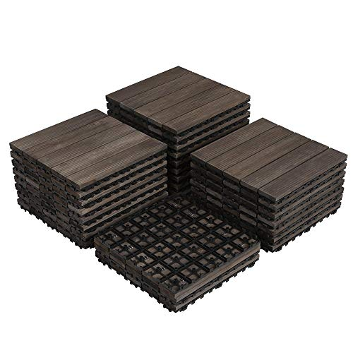 Yaheetech 27PCS Interlocking Wood Flooring Indoor Deck Patio Pavers Tiles Solid Wood Plastic Corner Edging Trim Tiles Outdoor 12 x 12in