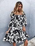 LXQGR Floral Gasa Temperamento Collar Cuadrado Cintura Vestido Delgado Mujer (Color : Black and White, Size : XS)