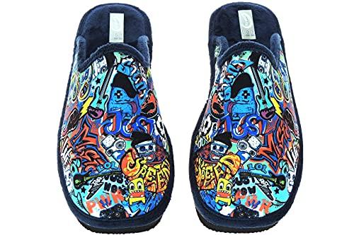 Zapatillas Casa Hombre Divertidas - Destalonadas Chinelas - Graffiti - Bola del Dragón - Marca [AMOROS] - Piso Microporoso - Hechas en España Graffiti Talla 42