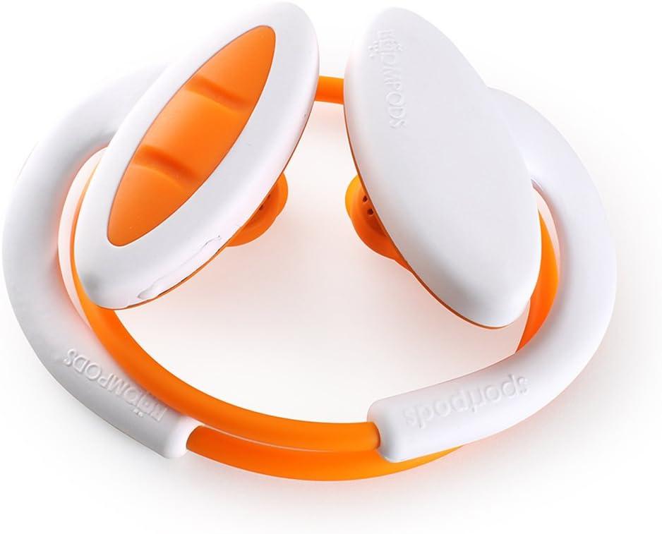 Boompods Sportpods 2 in-Ear Bluetooth Sport Headphones (White/Orange) Wireless Workout Earbuds - Powerful Bass - Sweatproof - Ergonomic Ear Tip