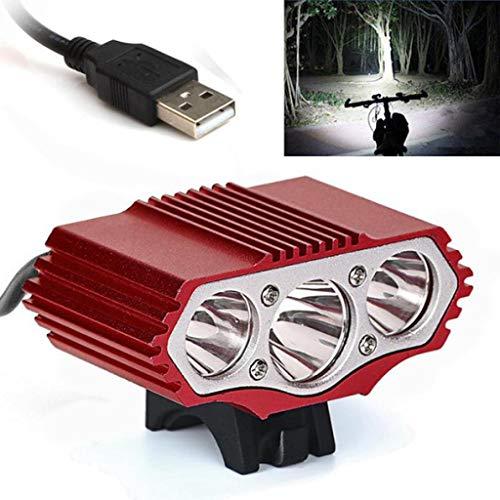 OHQ Linterna Luz De Bicicleta USB 12000 LM 3 X XML T6 LED 3 Modos LáMpara De La Bicicleta Luz De La Bici Luz De La Linterna Antorcha