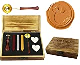 MNYR Vintage Squirrel Sealing Wax Seal Stamp Kit Melting Spoon Wax Stick Candle Wooden Book Gift Box Set Wedding Invitation Embellishment Holiday Card Gift Wrap Package Gift Idea Seal Stamp Set