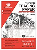 "Thick Tracing Paper, Dowsabel 8.5"" x 11"" Vellum Paper Heavy Duty for Arts and Crafts, Pencil, Marker and Ink - Trace Images, Drawing, 50 Sheets, 68 LBS / 100 GSM"