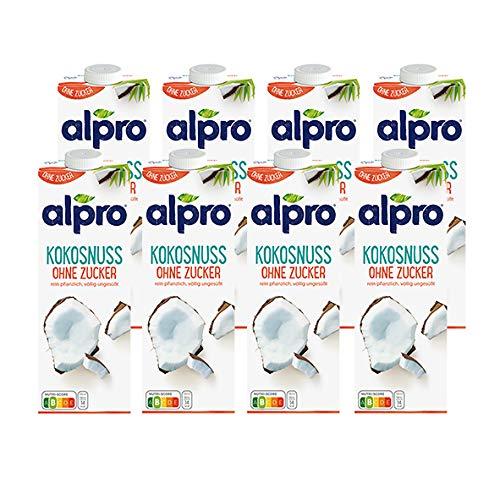 Alpro Kokosnussdrink ohne Zucker, 1 Liter, 8er Pack