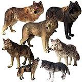 JOKFEICE Figuras de Animales 7 pcs Realista Plástico Figuras de Lobo Modelo de acción Proyecto de Ciencia, Regalo de cumpleaños, Decoración de Pastel para niños