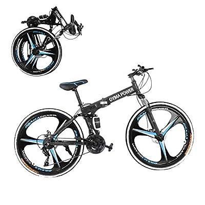 26 Inch Folding Mountain Bike Folding Bikes for Men Women QAY-5R 21 Speed Full Suspension Disc Brakes Cruiser Bicycles (A-Blue)