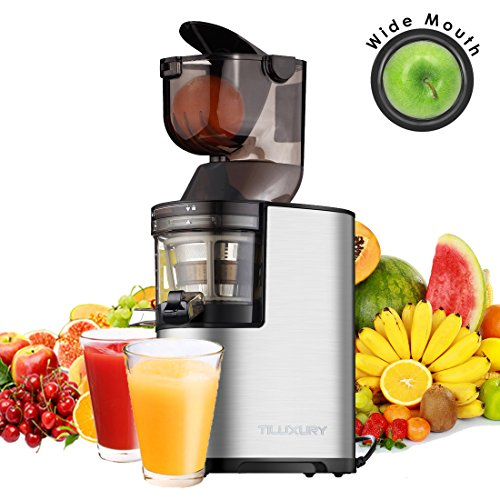 "Juicer Slow Masticating Juicer Extractor, 3"" Wide Chute Cold Press Juice Machine, 250W AC Motor and Reverse Function, Easy Cleaning, W/ Juicer Jug and Brush, High Nutrient Fruit and Vegetable Juice"
