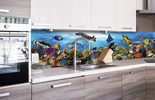 Zelfklevende keuken achterwand VISSEN IN DE OCEAAN 260 x 60 cm | Zelfklevende spatwand keukenfolie | Waterbestendige folie voor de keuken | PREMIUM KWALITEIT | Gemaakt in de EU