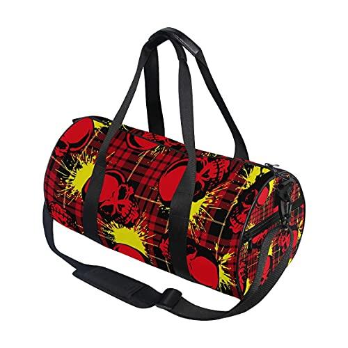 Borsone da palestra, con teschio rosso e bufalo a quadri, borsa sportiva da viaggio con scomparto per scarpe e tasca bagnata, per donne o uomini