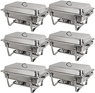 Stainless Steel Chafing Dish Full Size Chafer Dish Set 6 Pack of 8 Quart For Catering Buffet Warmer Tray Kitchen Party Dining (Rectangular)