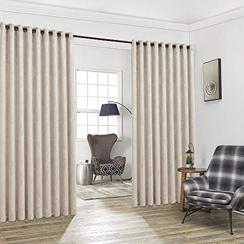 """Warm Home Designs Pair of 2 Extra Wide, Extra Long 108 x 99 Inch Beige Color Room Divider Panels Embossed with 3D Leaves. Floor to Ceiling Curtains Include 2 Matching Tie-Backs. B Beige Wall 99"""""""