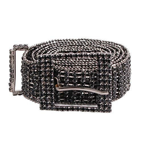 TonJin Cintura nera con strass in cristallo di qualità di alta qualità Cintura nera con catena a catena Cinturino in vita