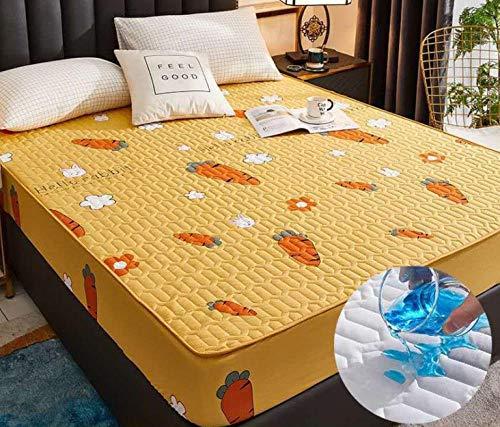 XLMHZP Ultra Suave Protector de Colchón,Sábana Ajustable de algodón con una Funda de colchón de Banda elástica Sábana de Cama de Color sólido Colcha de tamaño queen-35_180x200cm+30cm