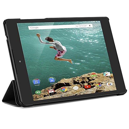 Kusen Schutzhülle für Google Nexus 9 Tablet (8,9 Zoll / 22,6 cm), stoßdämpfend, PU-Leder, dreifach faltbar Schwarz schwarz