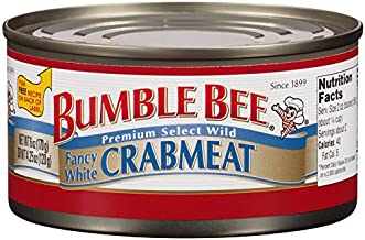 BUMBLE BEE Crab Meat, Fancy White, 6 Ounce Can, High Protein Food and Groceries, Keto..