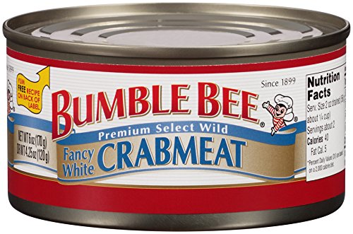 BUMBLE BEE Crab Meat, Fancy White, 6 Ounce Cans, High Protein Food and Groceries, Keto Food, Gluten Free, High Protein Snacks
