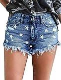 MODARANI Frayed Shorts for Women Strar Printed Mid-Rise Ripped Denim Shorts Zipper Fly Button XL