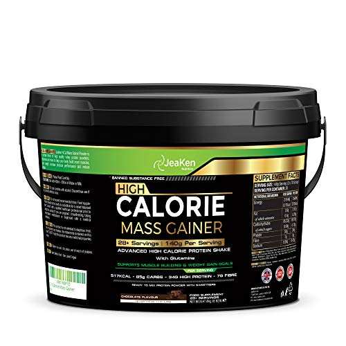 High Calorie Mass Gainer - 4Kg Advanced High Calorie Protein Shake with Glutamine - Muscle Building and Weight Gain - 517Kcal - 85g Carbs – 34g High Protein - 7g Fibre- 28 Servings(140g Per Serving)