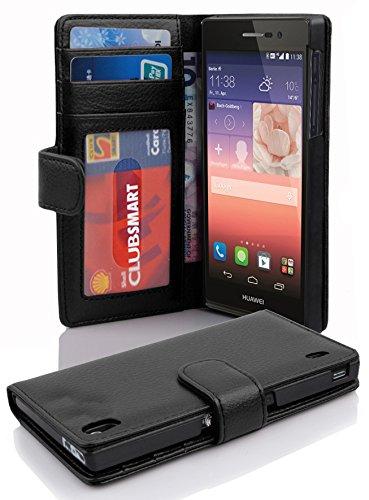 Cadorabo Hülle für Huawei P7 in Oxid SCHWARZ – Handyhülle mit Magnetverschluss & 3 Kartenfächern – Hülle Cover Schutzhülle Etui Tasche Book Klapp Style