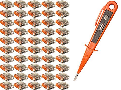 Preisvergleich Produktbild H+H Werkzeug SKK50 50 Set 3-polig + 1 x Spannungsprüfer / Phasenprüfer 45300 VDE (Verbindungsklemme Steckklemme Steckverbinder Verbindungsdosenklemme),  orange,  0, 5-2, 5mm²