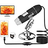 USB Digital Microscop – Handheld Microscope Camera,50 to1600x Magnification Endoscope with 8 LED Metal Stand,Mini Digital Microscope Compatible with Windows7,Windows10/Mac10.13 and Above