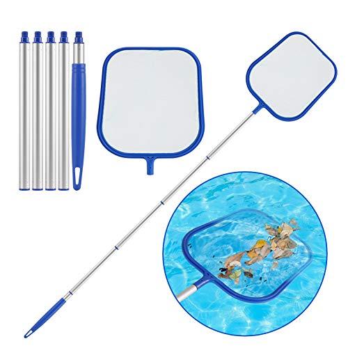 KNMY Pool Kescher, Pool Leaf Skimmer mit 1.2M Aluminiumrohr Teleskopstange, Poolreinigung Fein Maschennetz Set für Schwimmbad, Spa, Whirlpools, Planschbecken, Aquarium, Gartenteich