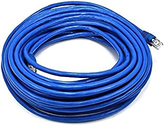 Monoprice 50FT 24AWG Cat6A 500MHz STP Ethernet Bare Copper Network Cable [Blue]