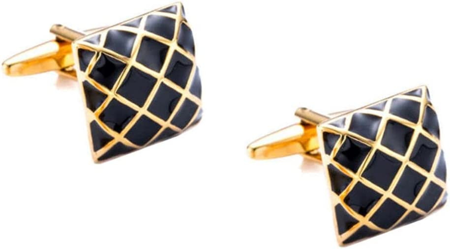 BO LAI DE Men's Cufflinks Square Black Gold Diamond Pattern Cufflinks Shirt Cufflinks Suitable for Business Meetings, Dances and Events, with Gift Box