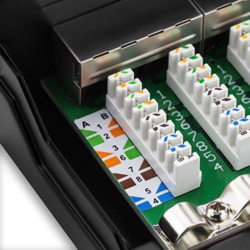 deleyCON CAT 6 Patchpanel Verteilerfeld 8 Port - Desktop & Wandmontage - Geschirmt - 8X RJ45 Buchse - TIA568A TIA568B Schwarz