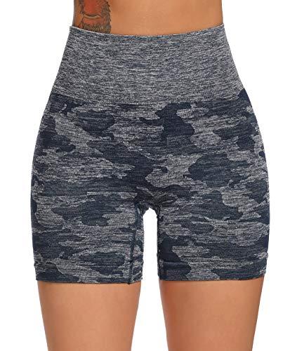 FITTOO Leggings Cortos Mujer Sin Costura Mallas de Yoga Alta Cintura Elásticos #3 Morado S