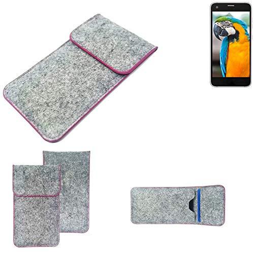 K-S-Trade® Handy Schutz Hülle Für Vestel V3 5040 Schutzhülle Handyhülle Filztasche Pouch Tasche Case Sleeve Filzhülle Hellgrau Pinker Rand