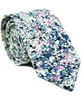 DAZI Men's Skinny Tie Floral Print Cotton Necktie, Great for Weddings, Groom, Groomsmen, Missions, Dances, Gifts. (Mr Pollock)