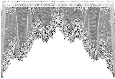 Heritage Lace TEA ROSE Swag Pair 60x30 ECRU Made in USA