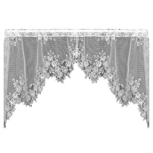Heritage Lace Tea Rose 60-Inch Wide by 30-Inch Drop Swag Pair, White