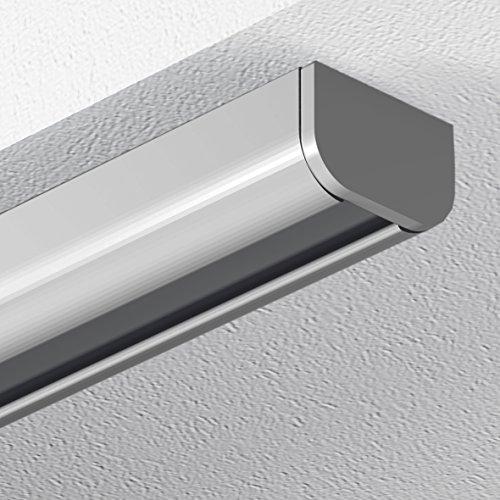 Garduna 240cm Schleuderschiene Gardinenschiene Vorhangschiene, Aluminium, Silber, hochwertig eloxiert, 1-läufig
