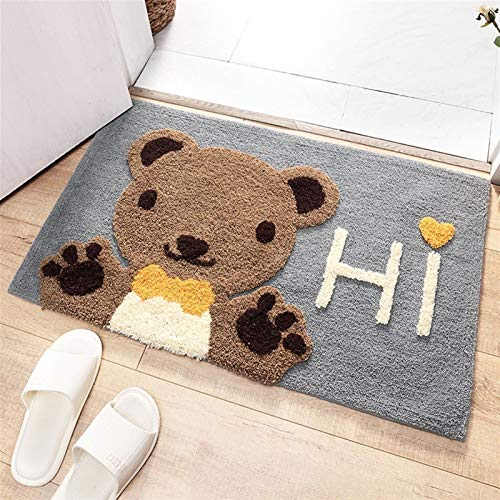 JZYZSNLB Felpudo de baño para decoración del hogar, antideslizante, absorbente, alfombra de baño de fibra súper suave (color: oso, especificación: 45 x 65 cm)