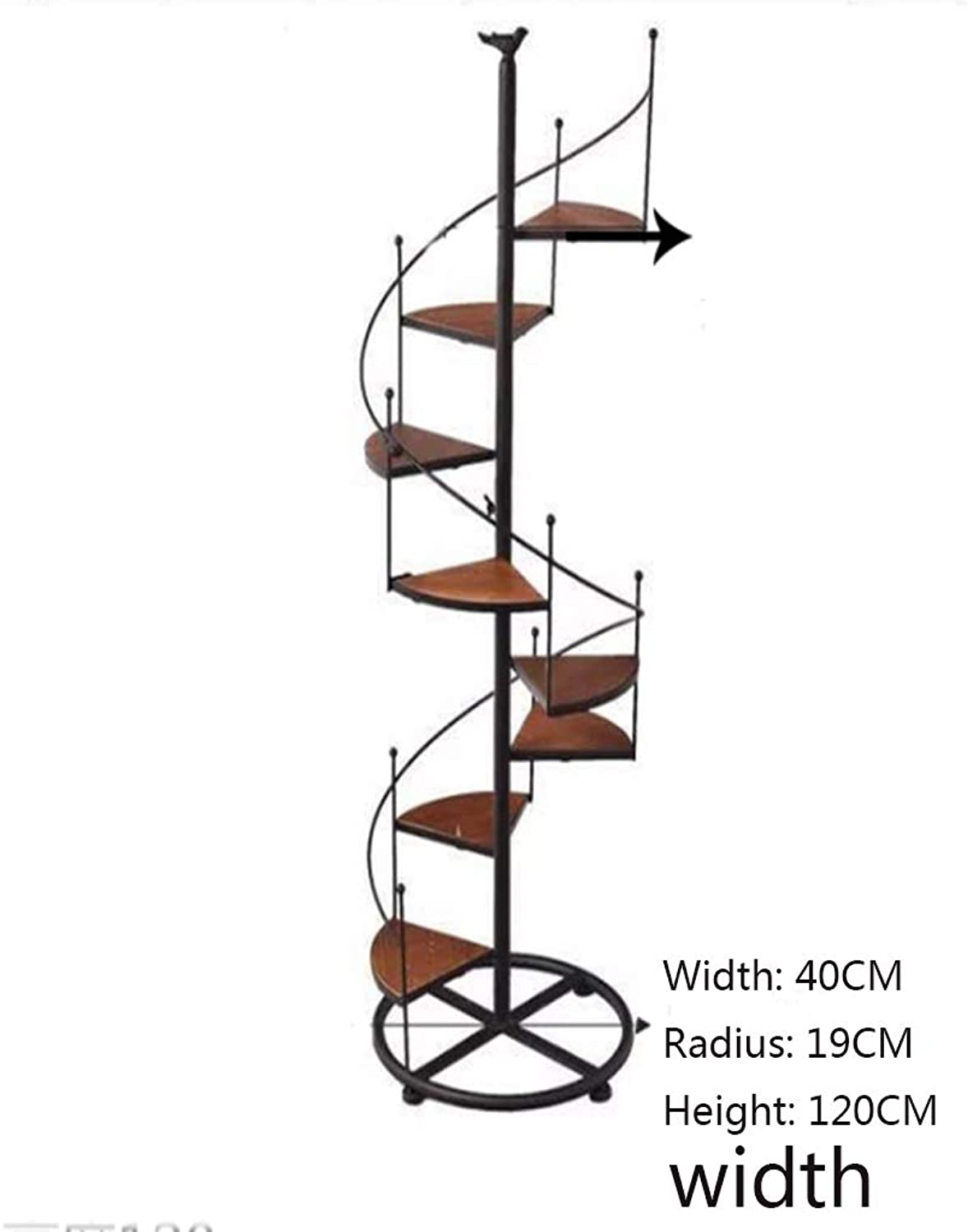 NYDZDM Flower Pot Shelves Iron Black Metal Spiral Staircase Display Stand 8 Tier,for Indoor Living Room Balcony Decoration in Black (Size   40  19  120cm)