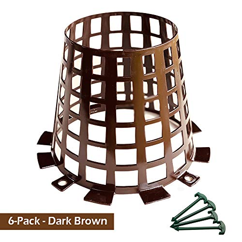 Plant and Tree Guard and Protector for Trees, Plants, saplings, Landscape Lights, lamp Posts, More; Expandable for Larger Trees and Plants; Protection from Trimmers, Weed whackers (Brown 6-Pack)