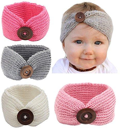 Qandsweet Baby Turban Head Wrap Headbands Girl Knitting Button Hairbands