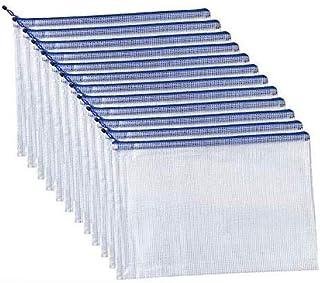 12枚A4 ジッパー式ファイル袋,メッシュファイルバッグ ファスナーフォルダー 撥水 網目 ファスナ付き 旅行収納バッグ オフィス用品 防水 半透明